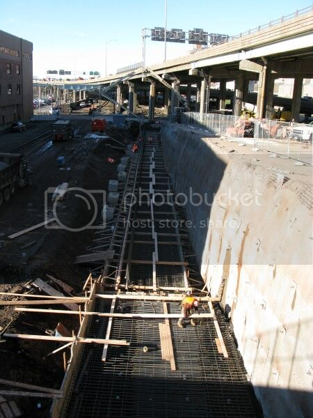Looking at construction of the New Britain-Hartford Busway from Broad Street